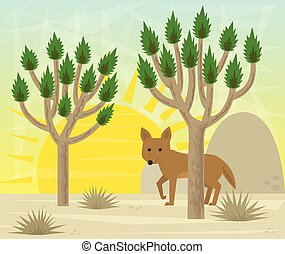 Joshua tree and coyote - Cartoon coyote is standing behind a...