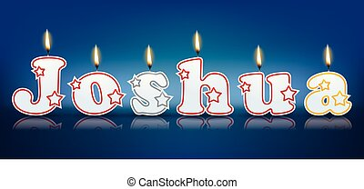 JOSHUA written with burning candles - vector illustration