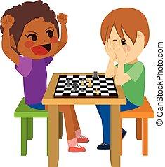 jouant échecs, enfants