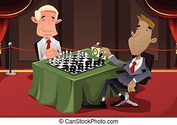 jouant échecs, hommes affaires