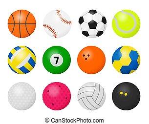 jouant jeu, dessin animé, équipement, sport, football, basket-ball, boules rugby, balls., volley-ball, jeux base-ball