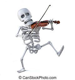 jouant violon, danse, squelette, 3d