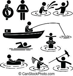 jouer, à, rivière, et, eau