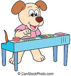 jouer, électronique, chien, orgue, dessin animé