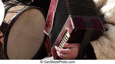 jouer, accordéon, bouton