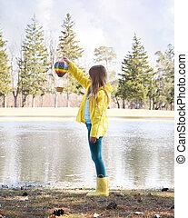 jouer, air, chaud, enfant, dehors, balloon