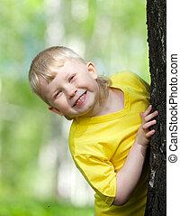 jouer, arbre, extérieur, parc, gosse