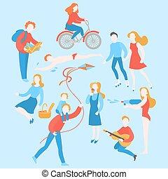 jouer, baston, été, parc, natation, gens, avoir, équitation, dessin animé, plat, manger, voyager, guitare, extérieur, pique-nique, eau, cerf volant, couple, ice-cream., activity., voler