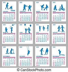jouer, bleu, 2020, silhouettes, calendrier, enfants
