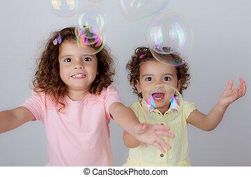 jouer, bulles, enfants