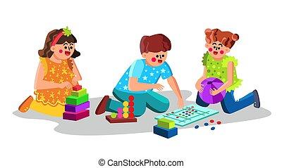 jouer, centre, enfants, vecteur, soin, jouets, enfant
