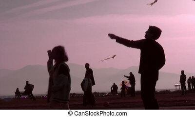 jouer, cerf volant, enfants