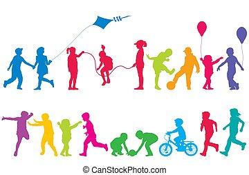 jouer, coloré, silhouettes, deux enfants, ensembles