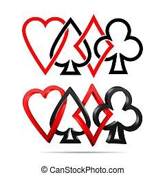 jouer, complet, cartes.