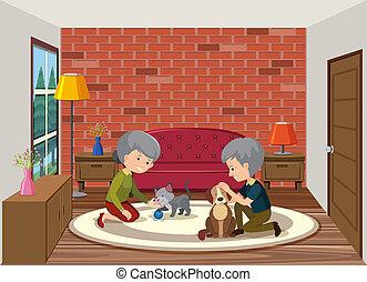 jouer, couple, personne agee, chien