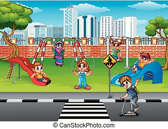 jouer, cour de récréation, enfants