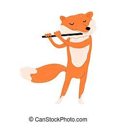 jouer, debout, illustration, renard, vecteur, rouges, positif, flûte