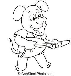 jouer, dessin animé, guitare, chien, électrique