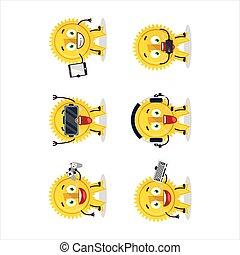 jouer, divers, caractère, jeux, mignon, ruban or, dessin animé, médaille, emoticons