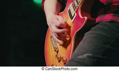 jouer, e-guitar, étape, homme