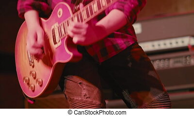 jouer, e-guitar, concert, homme