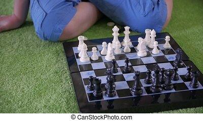 jouer, enfant, échecs