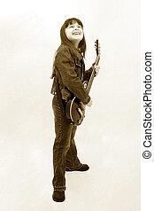 jouer, enfant, guitare électrique