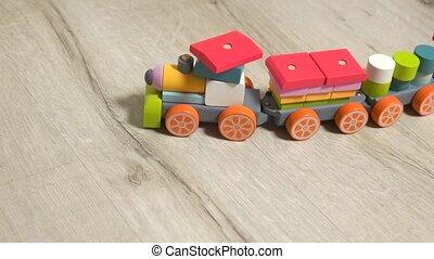 jouer, enfant, train., jouet, bois