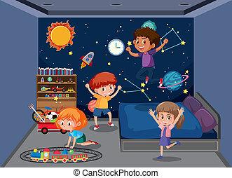 jouer, enfants, chambre à coucher