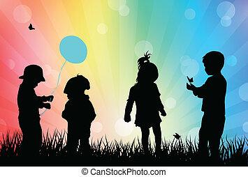jouer, enfants, dehors
