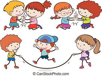 jouer, enfants, ensemble
