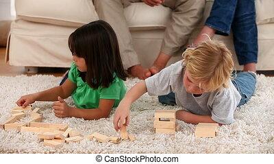 jouer, enfants, plancher