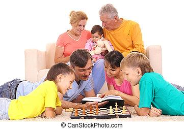 jouer, famille, échecs