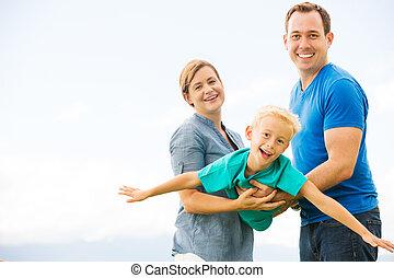 jouer, famille, heureux
