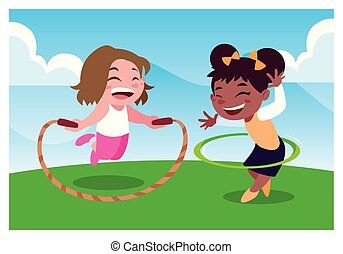 jouer, filles, corde, sauter, sourire