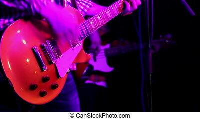 jouer, fin, rouges, musicien, guitare