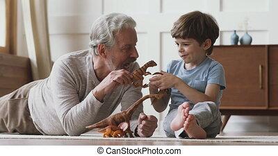 jouer, générations, home., jouets, différent, famille, ...