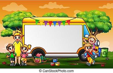 jouer, gabarit, cadre, enfants, parc