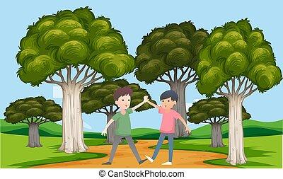 jouer, garçons, jardin