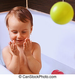 jouer, girl, beau, bain, bébé