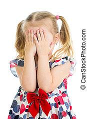 jouer, gosse, pleurer, isolé, figure, ou, dissimulation