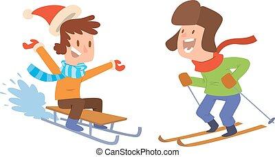 jouer, gosses, jeux, hiver, noël
