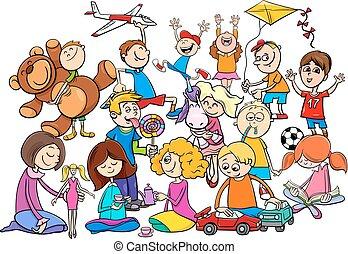 jouer, groupe, dessin animé, jouets, enfants