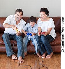 jouer, heureux, vidéo, famille, jeux