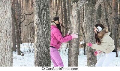 jouer, hiver, forêt