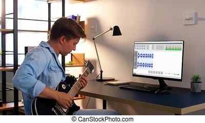 jouer, homme, maison, musique, enregistrement, guitare
