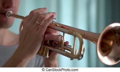 jouer, homme, trompette, jeune