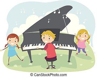 jouer, illustration, gosses, dehors, piano