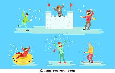 jouer, illustration, neige, boules neige, hiver, vecteur, confection, ski, gens, activités, château, équitation, ensemble, tube