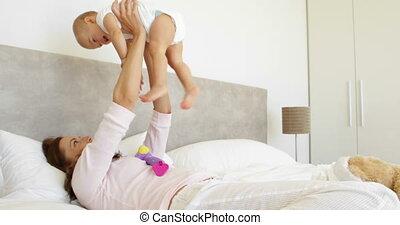 jouer, mère, fille, bébé